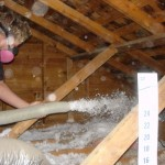 Attic Insulation being blown in